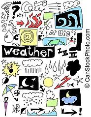 天候, 面白い, いたずら書き, アイコン, セット