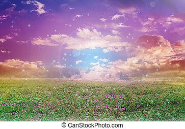 天国, ムード, カラフルである, 抽象的, 空フィールド, 夢のようである, ロマンチック, 花, 柔らかい, のように
