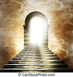 天国, 端, 階段, トンネル, 先導, ライト, hell., ∥あるいは∥