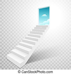 天国, 階段, 階段, はしご, 概念, 開いた, 空, ドア