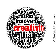 天才, 創造性, インスピレーシヨン, 包丁, 輝き, テキスト, コラージュ, 作曲された, 中に, ∥, 形, の, 地球, ∥, 隔離された, 白