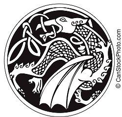天文, druidic, シンボル, ドラゴン