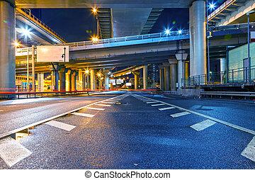 天橋, 城市道路, 夜晚