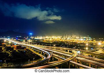天橋, 橋梁, 以及, 碼頭, 在, 夜晚