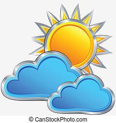 天气, 矢量, 阳光充足, 图标