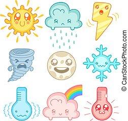 天氣, 圖象, 在, mangs, 風格