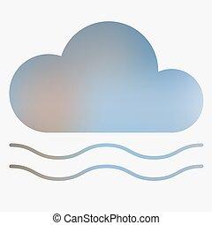 天氣, 套間, 風格, icon.