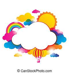 天氣, 邊框, 由于, 云霧