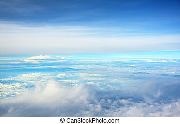 天空, 上面, 云霧
