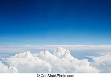 天空, 以及, 云霧