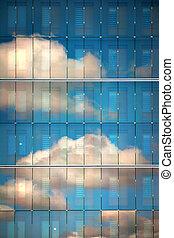 天空, 反映 在, 玻璃