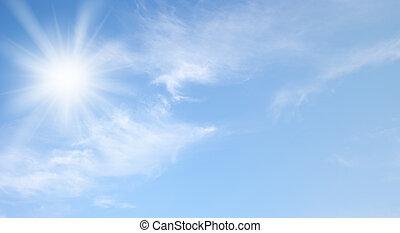 天空, 同时,, 太阳