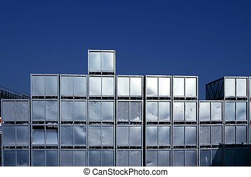 天空, 在上方, 藍色, 銀, 堆積, 行, 容器