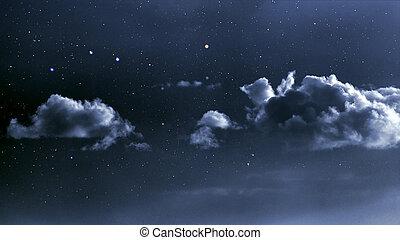 天空, 多雲, 夜晚