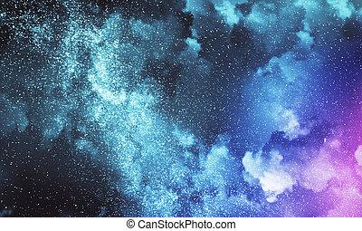 天空, 多雲, 背景, 夜晚