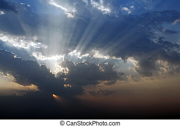 天空, 戲劇性, 晚上, 云霧