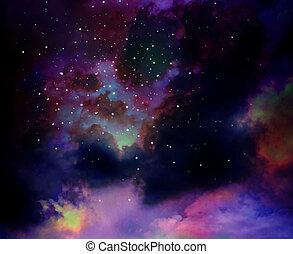 天空, 星云, 星, 星系, 夜晚