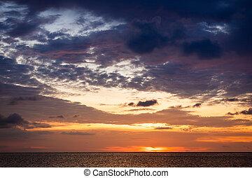 天空, 海洋, 傍晚,  scape