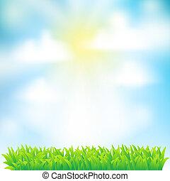 天空, 背景, 云, 草, 春天
