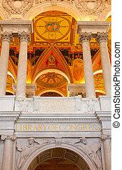 天花板, ......的, 圖書館, 國會, 在, 華盛頓特區