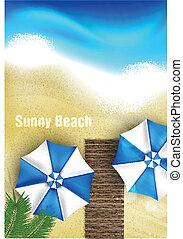 天蓝色, 海滩, 伞, 海岸
