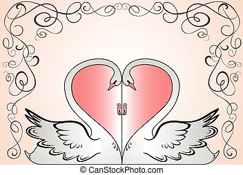 天鵝, 卡片, 婚禮