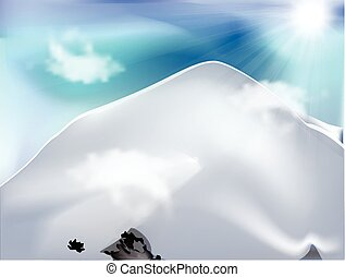 天, 山, 云霧, 陽光普照
