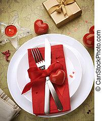 天, 餐具, 浪漫, 晚餐。, 情人是