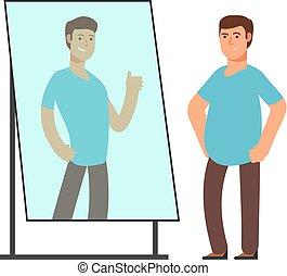 太った男, 傍観する, 強い, そして, 薄くなりなさい, 人, 反射, 中に, 鏡。, フィットネス, ゴール, ベクトル, 概念