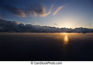 太平洋, sunset.