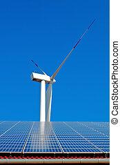 太阳的力量, 同时,, 风能量, 塔