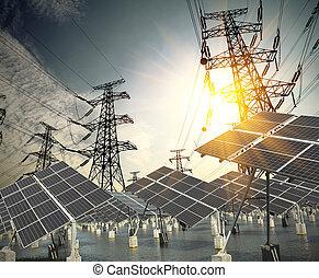 太阳能面板, 同时,, 力量, 传输塔