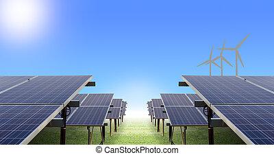 太阳, 农场, 同时,, 风汽轮机