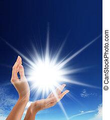 太阳, 在中, the, 手