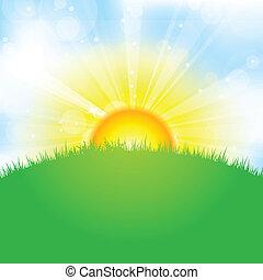 太阳, 天空, 同时,, 草