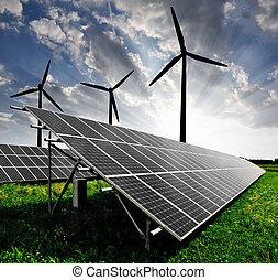 太阳, 面板, 同时,, 风汽轮机