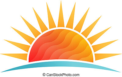 太陽が輝く, ∥において∥, 浜, 低い, poly, ベクトル, ロゴ