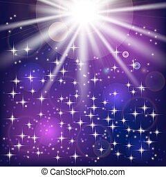 太陽は放射する, そして, ライト, effects., ベクトル, イラスト