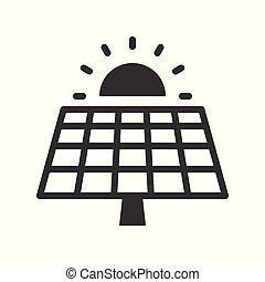 太陽エネルギー, 細胞, 緑, 太陽, パネル, アイコン