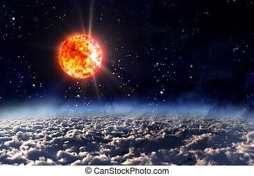 太陽ライト, 太陽, 夜