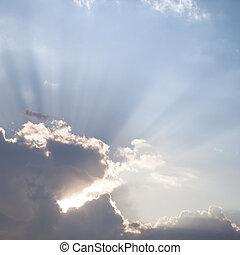 太陽光線, 透過, the, 云霧