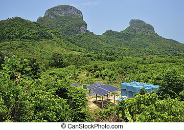 太陽能電池, 在, 熱帶, environment.