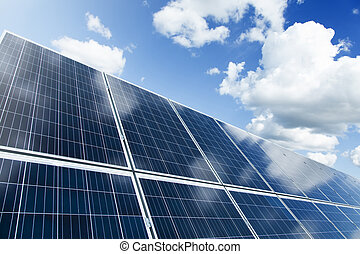 太陽面板, 以及藍色, 天空