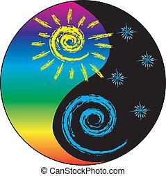 太陽, そして, 月, yin と yang