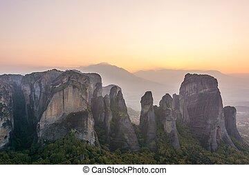 太陽, の後ろ, 設定, 砂岩, rocks.