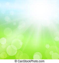 太陽, ぼんやりさせられた, フィールド, 緑の背景, ライト