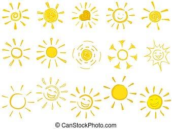 太陽, アイコン, 引かれる