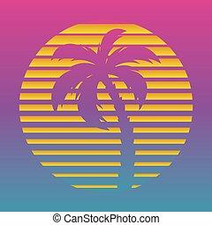 太陽, カバー, cyber, 1980s, コンピュータ, やし, ocean., やし, style., アルバム, 音楽, レトロ, テンプレート, デジタル, world., ovr, 波, 格子バックグラウンド, レーザー, 島, 木, 海洋, 未来派