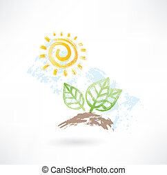 太陽, グランジ, leafs, アイコン