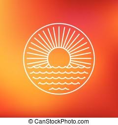 太陽, スタイル, ベクトル, 紋章, アウトライン